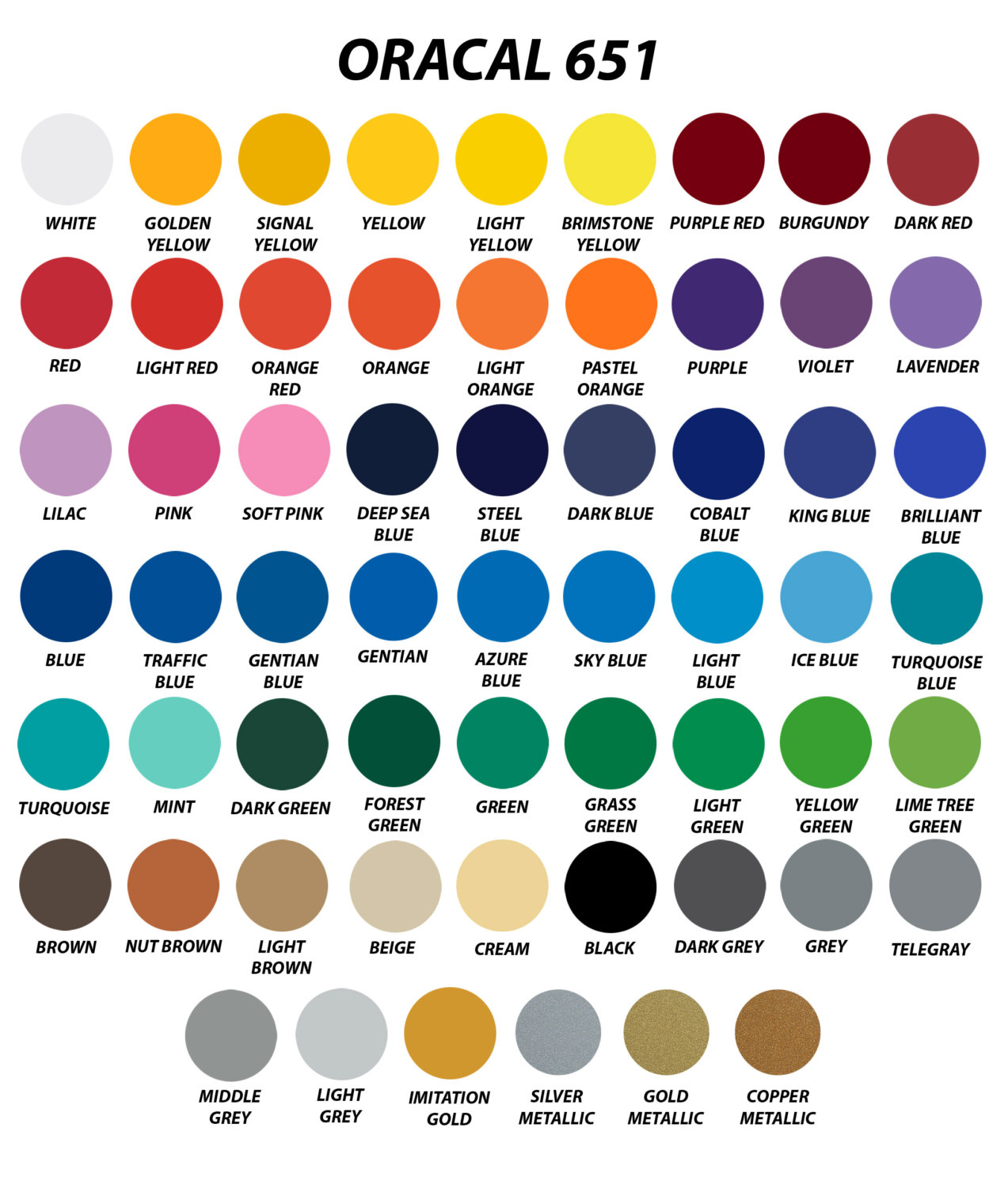 oracal 651 colors