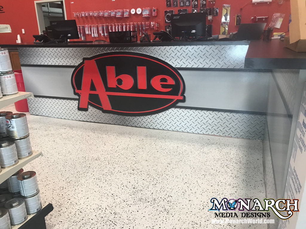 Able Distributing Front Desk Wrap Wall Wrap