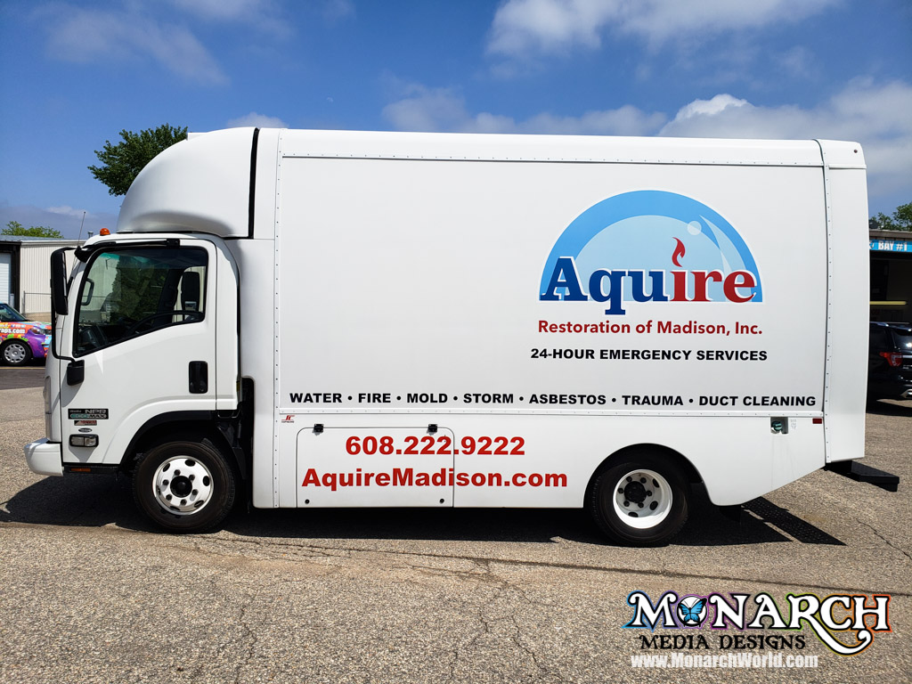 Aquire Box Truck Graphics Color Logo Vinyl Madison