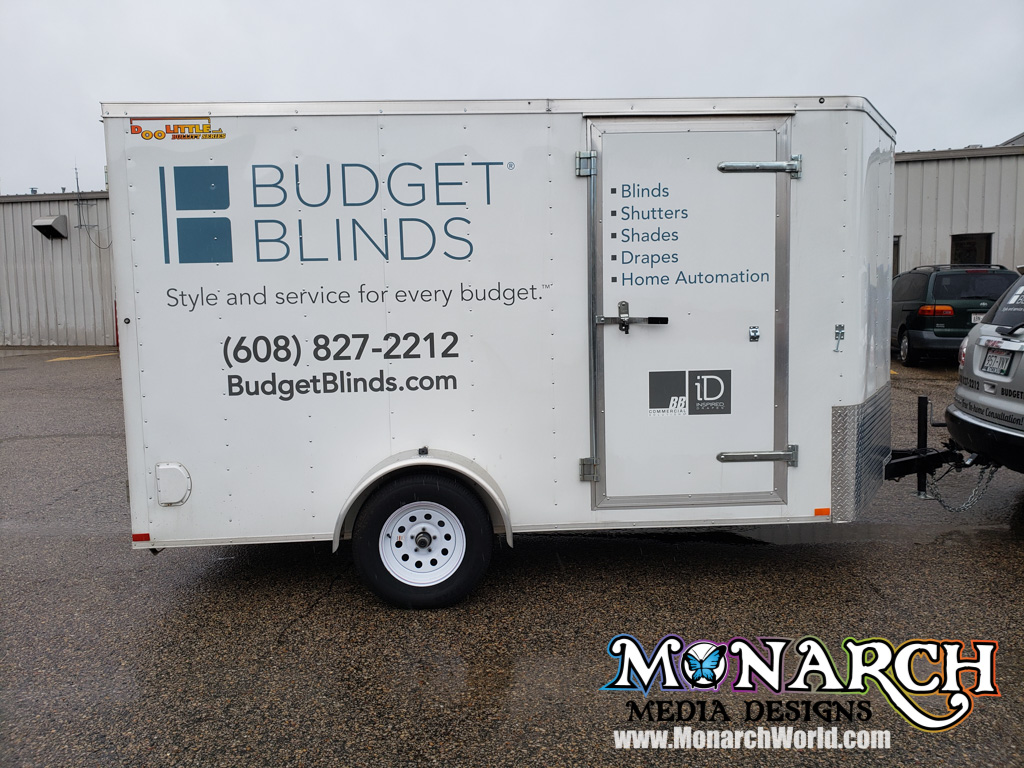 Budget Blinds Vinyl Graphics Trailer