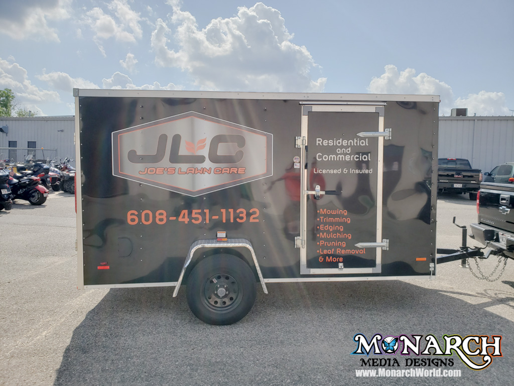 Joes Lawn Care Trailer Full Color Vinyl Graphics