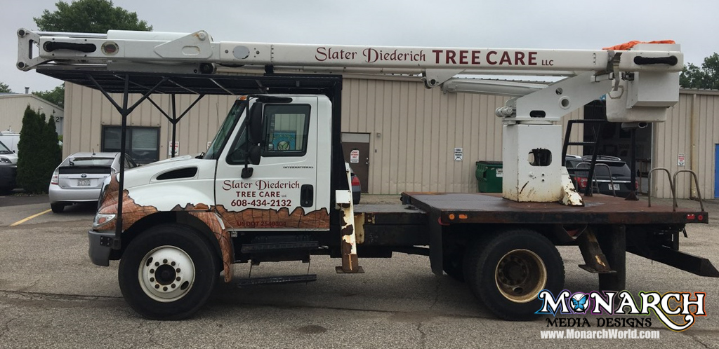 Slater Diederich Tree Care Partial Truck Wrap Wood