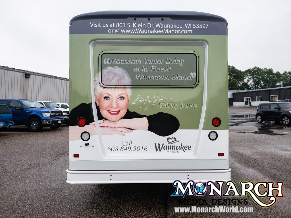 Waunakee Manor Shuttle Bus Partial Wrap Graphics