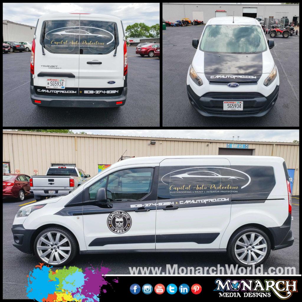 Capital Auto Protection Custom Van Graphics Collage
