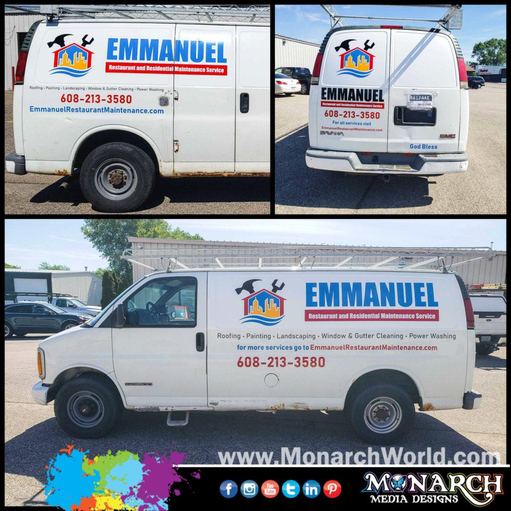 Emmanuel Restaurant Van Graphics Collage