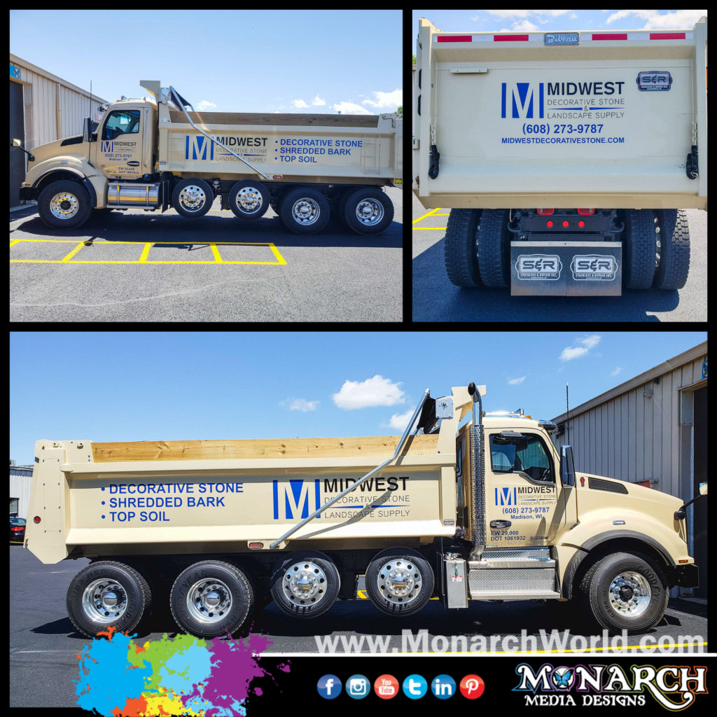 Midwest Decorative Stone Dump Truck Graphics Collage