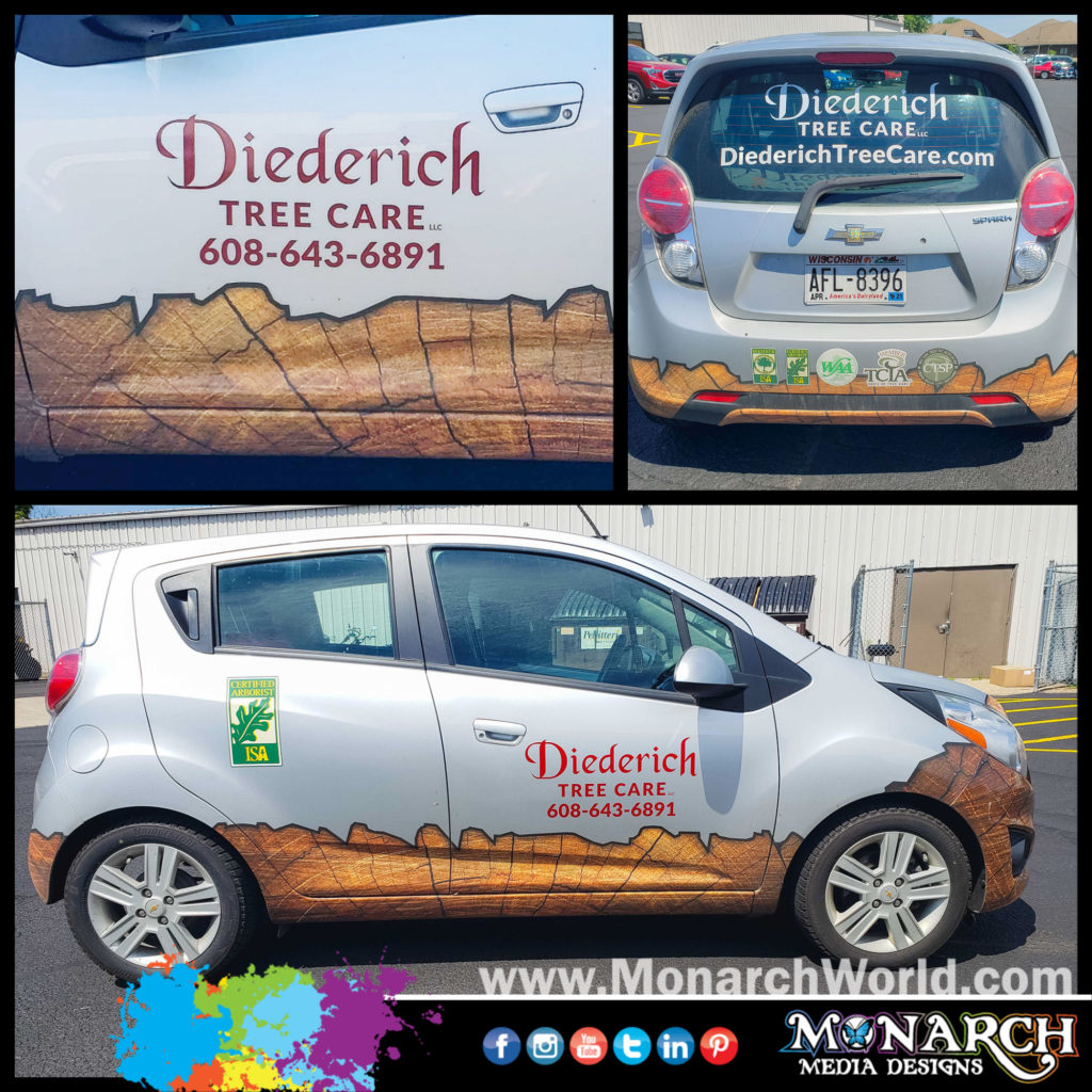 Slater Deiderich Chevy Spark Partial Vehicle Wrap Collage