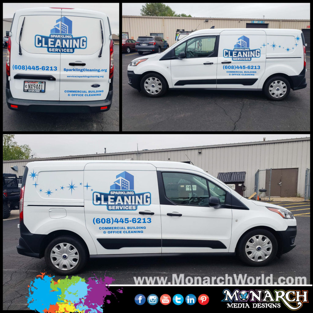 Sparkling Cleaning Van Graphics Collage