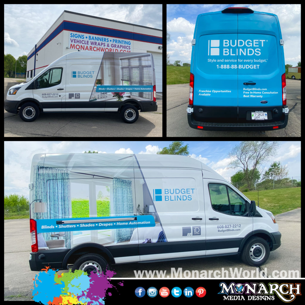 Budget Blinds Ford Transit Wrap Collage