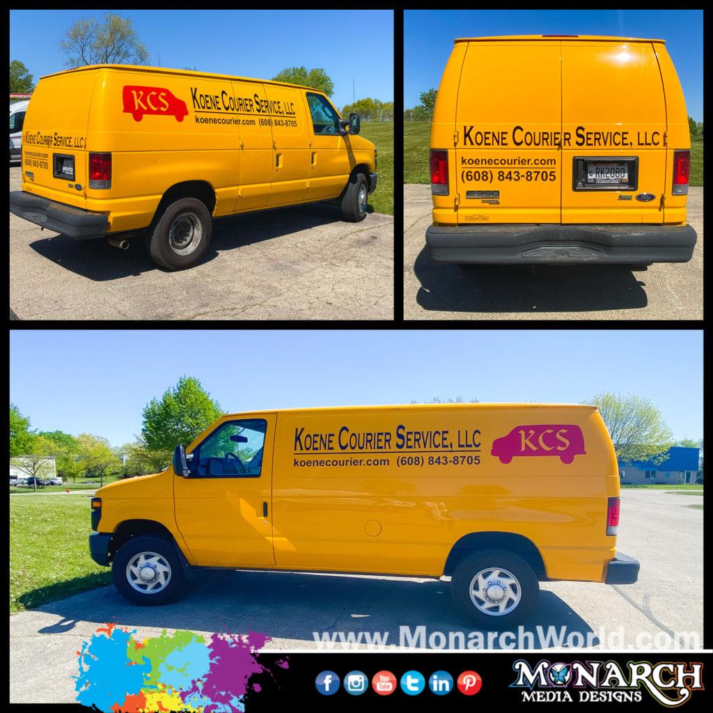 Koene Courier Yellow Van Graphics Collage