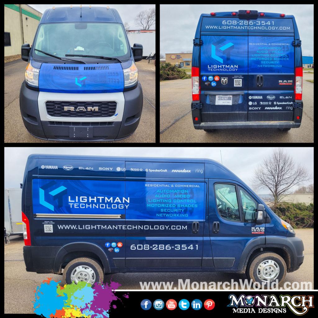 Lightman Technology Van Partial Wrap Collage