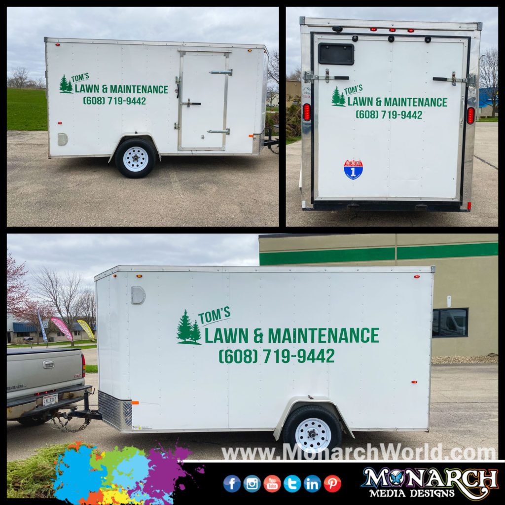 Toms Lawn Trailer Graphics Collage